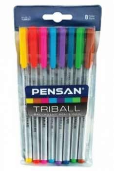 Pensan Triball Tükenmez Kalem Renkli 8 Li Set - Thumbnail